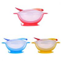 3 Piece Set Baby Dinnerware Tableware Suction Bowl & Lid with Tempersture Sensing Spoon